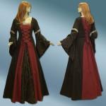 Mittelalter Gothickleid mit braun schwarzem Brokat nach Maß
