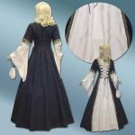 Mittelalter-Hochzeitskleid mit Cremebrokat